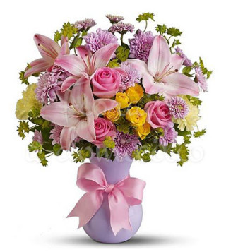 bouquet-di-roselline-rosa-e-roselline-gialle-e-gigli-rosa