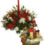 Fiori a domicilio |Centrotavola natalizio con Cesto di Prodotti Tipici