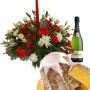 Fiori a domicilio |Centrotavola natalizio con Pandoro e Spumante