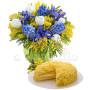 bouquet-di-mimose-tulipanie-e-iris-con-torta
