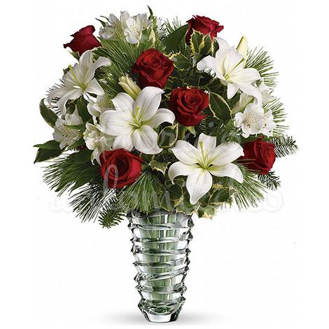 bouquet,di,rose,rosse,e,fiori,bianchi,misti