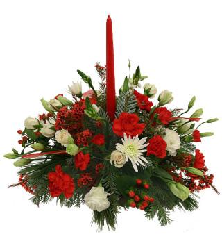 Fiori a domicilio |Centrotavola natalizio con fiori bianchi e rossi