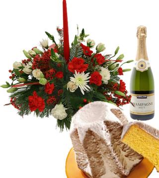 Fiori a domicilio |Centrotavola natalizio con pandoro e champagne