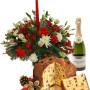 Fiori a domicilio |Centrotavola natalizio con panettone e champagne