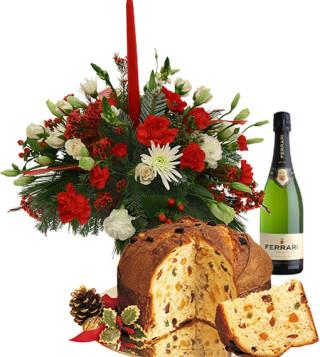 Fiori a domicilio |Centrotavola natalizio con Panettone e Spumante