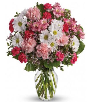Fiori a domicilio: bouquet di fiorellini misti dai toni rosa