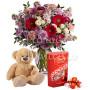 bouquet-di-fiorellini-con-orsacchiotto-e-lindor